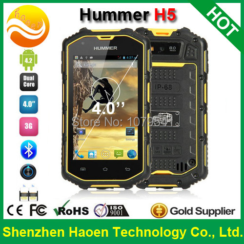 Best Outdoor Waterproof Smart Phone Hummer H5, IP67 Shockproof Dustproof Rugged Mobile Phone Android, Military Class Cell phone(China (Mainland))