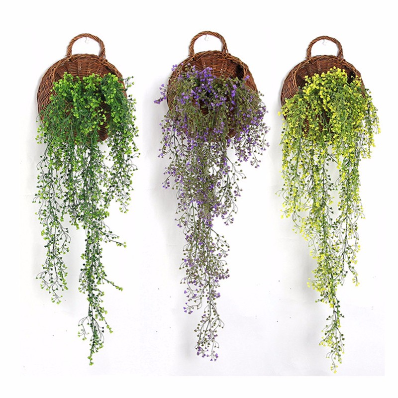 Plastic Green Vine Hanging Plant Artificial Weeping Willow Wall Home Decor Balcony Decorattion Garland Flower Basket Accessories(China (Mainland))