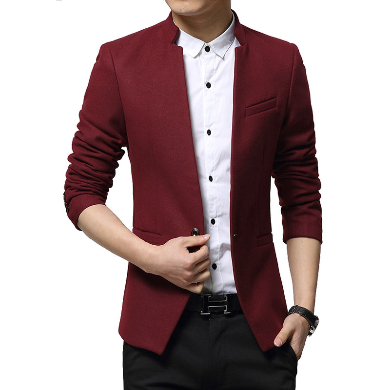 2015 New Arrival Men Blazer Slim Fit Casual Solid Color Mandarin Collar Blazer Long Sleeve Blazer Masculino Red,black,navy blue