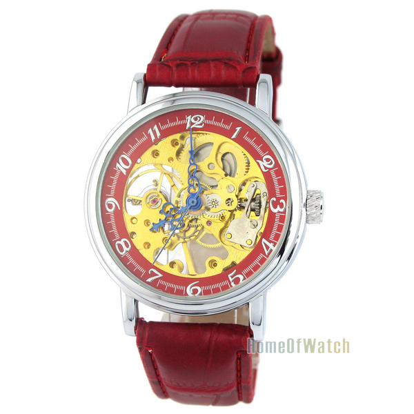 Simple Hollow Mechanical Watches Gold Part Synthetic Leather Strap Manipulator Wind Red Watch (NBW0ME7981-RE3)(China (Mainland))