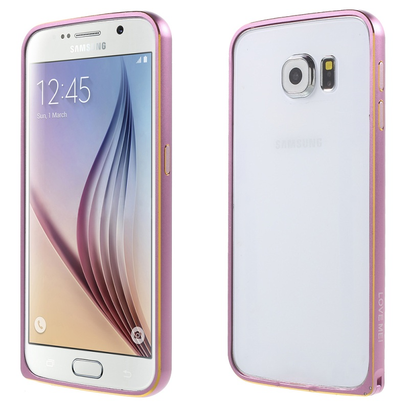 For Galaxy S6 G920 Bumper Cases LOVE MEI Hippocampal Buckle Metal Bumper Phone Cover Case for Samsung Galaxy S6 G920 Shell- Pink(China (Mainland))
