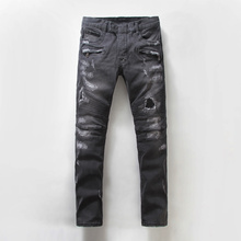 Biker Jeans Special Offer Low 2015 Winter New European And American Brands Balmai Motorcycle Jeans Men Fold Stitching Slim Mens