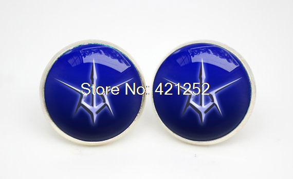 silver plated Code Geass Order of the Black Knights emblem earrings Glass photo earrings(China (Mainland))