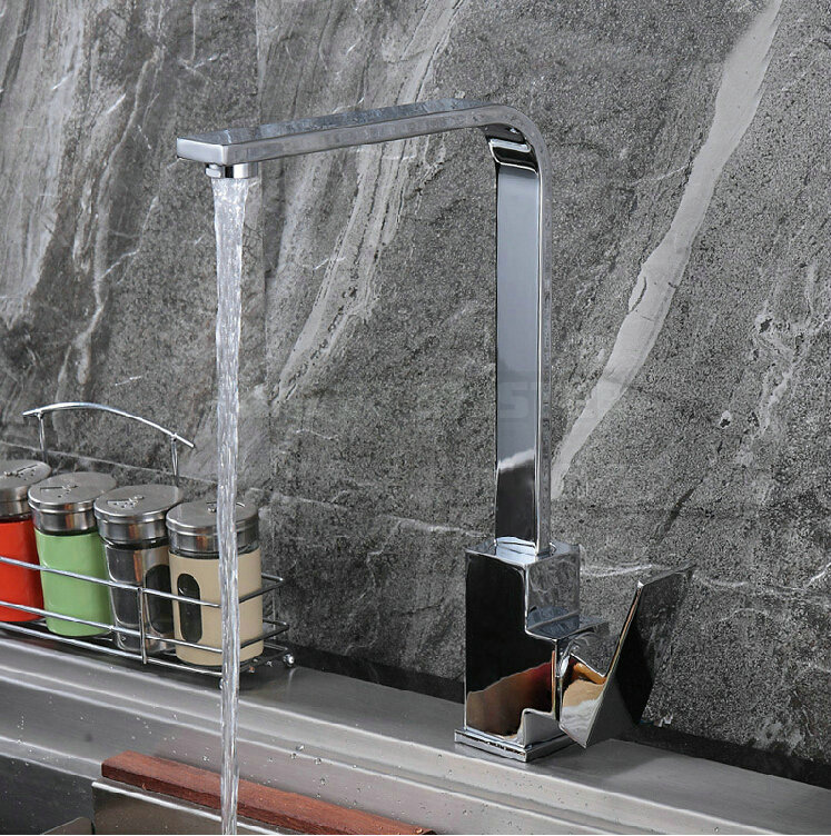 360 Rotating Kitchen Sinks Faucet Mixer Tap Brass Chrome Single Handle Single Hole MA-06(China (Mainland))