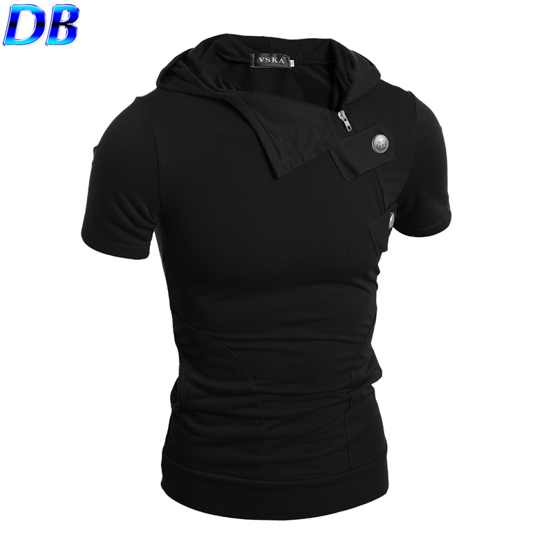 Hot-selling 2016 New Style Cool Men's Fashion Short Sleeves Hoodies Outdoor Sportswear Slim Fit , Vest Design 5 Colors(China (Mainland))