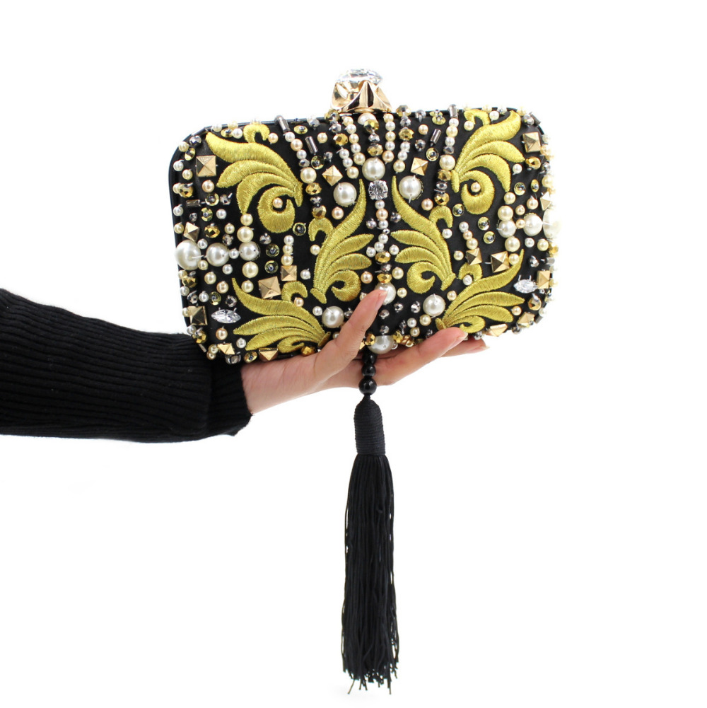 2016 New Women Tassel Bag Party Clutch Evening Bag Black mixed Gold Female Clutch Handbag with Chain Elegant Purse BD008(China (Mainland))
