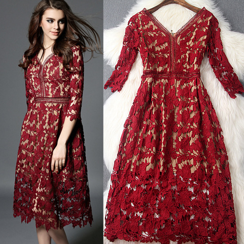 2016 New Women Runway Red Hollow Out Flower Crochet Lace Midi Dress Elegant Designer Ladies Clothing Spring Summer Vestidos S7(China (Mainland))