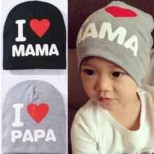 Baby Hat Knitted Warm Cotton Toddler Beanie Baby Cap KidsI Love Papa Mama Print Kid Shaun sheep hat boy girl hats(China (Mainland))