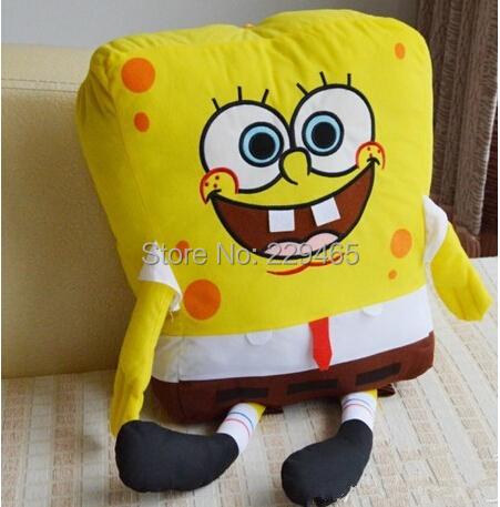 sponge bob 50cm spongebob plush toy soft anime cosplay doll for kids toys cartoon figure cushion square pants (we give gift)(China (Mainland))