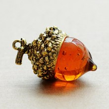 2015 New Fashion vintage Antique Bronze/silver/gold Plated Water Drop Glass Acorn Oak Pendant Necklace For Women(China (Mainland))