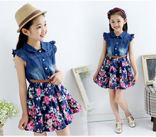 HOT Teenage Girls The New Summer Denim Floral Dress  dresses girls kids 10 years baby girl clothes  children  vestidos infantis