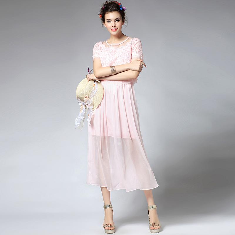 summer style Europe station 2015 new brand original short-sleeved silk two-piece Slim dress Q151172 - LADY SARA'S FASHION STORE store
