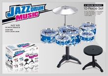 New Arrival 10pieces Series Drum set toys Big size Jazz Drum Toys+Chair Drum kit toys Tom-tom toys Musical Instrument for kids(China (Mainland))