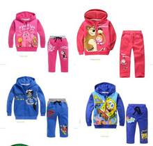Special offer,1PCS, free children clothing set boys suits 100%cotton hoodie+pants cartoon clothes boys  autumn wear(China (Mainland))