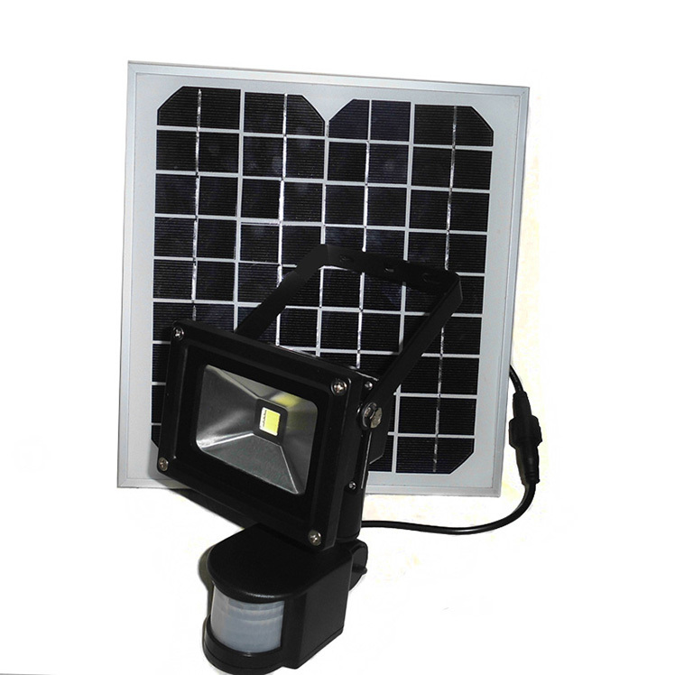 10W Solar powered LED Flood light with PIR Motion sensor garden Security path wall lamp outdoor led spot lighting