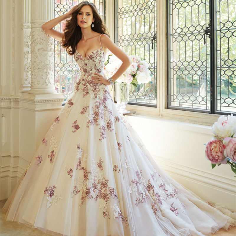 2017 New Design Sweet Flower White And Purple Applique Long Mermaid Lace Up Wedding Dress Bridal
