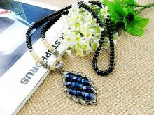 fashion jewlery ancient silver with blue crystal fine long sweater chain necklace black beads fashion accessory