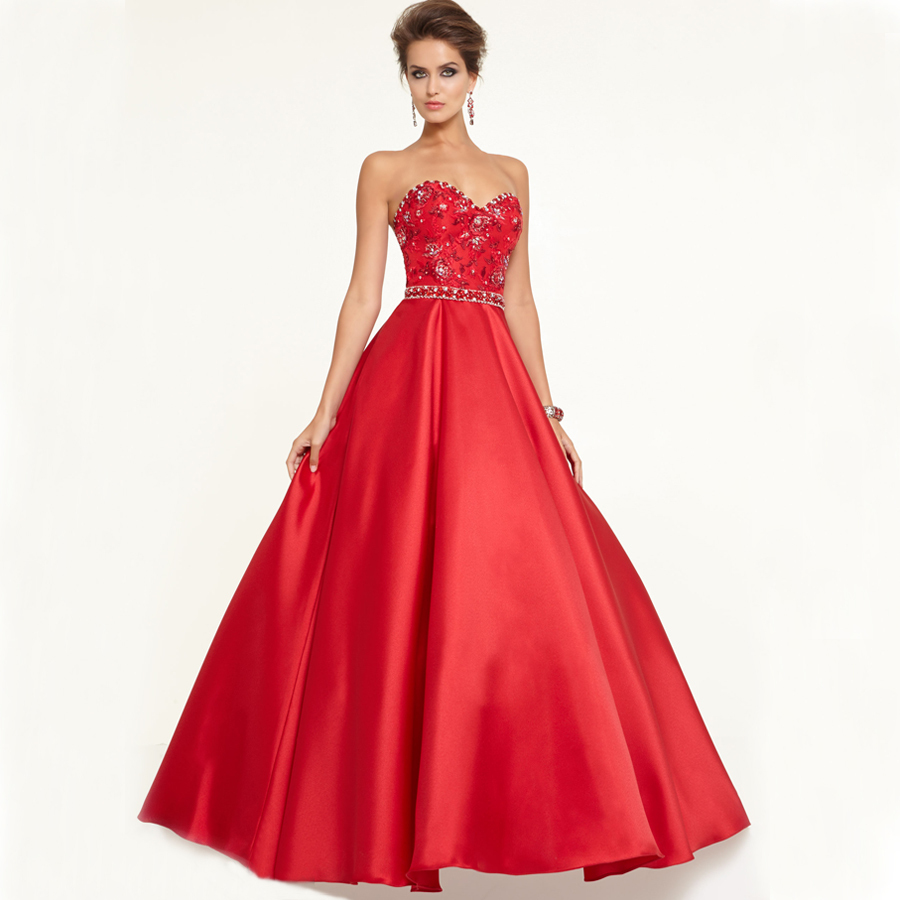Buy bf3003 rhinestones princess evening for Where to buy red wedding dress