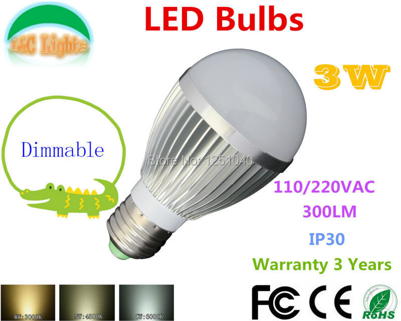8PCS/LOT Dimmable 3W LED Bulb 110V 220V LED Lamp 300LM LED Home Lighting CE RoHS E14 E27 GU10 GU5.3 LED Light Bulb Free Shipping(China (Mainland))
