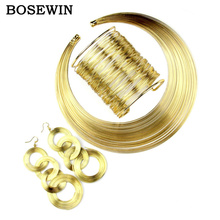 MANILAI Women Fashion Jewelry Set Multilayer Metal Wire Chokers Necklace Bangle Earring Sets 2016 Indian Trendy Gift Christmas(China (Mainland))