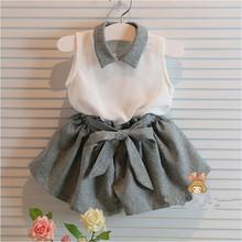 Girls clothes set clothing child clothes set white shirt and grey pants new 2015 summer chiffon