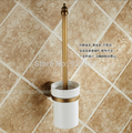 Top quality Bathroom Toilet Brush Ceramic Holder Antique Brass Wall Mounted