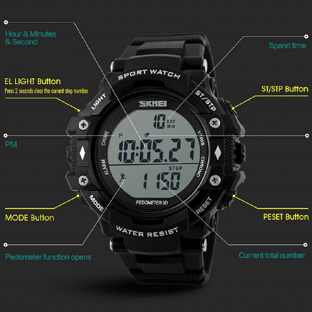 Повседневная Водонепроницаемый Наручные Часы Большой набрать Моды Спортивные часы SKMEI 3D Шагомер Спорта На Открытом Воздухе