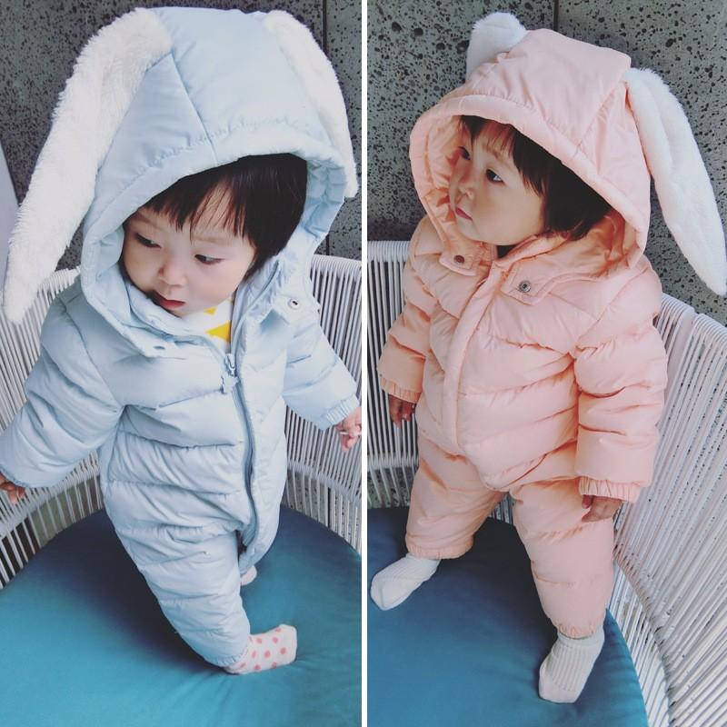 Скидки на Зима кролик мультфильм новорожденный ребенок комбинезон утолщаются детская одежда Рождество теплый мягкий девочек мальчиков зимней одежды детские комбинезоны