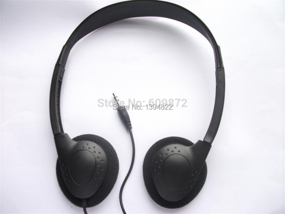 Low Cost over-the-ear headphones , 3.5MM plug , l.8M stereo cord, hospital, trains , buses headsets, free shipping(China (Mainland))