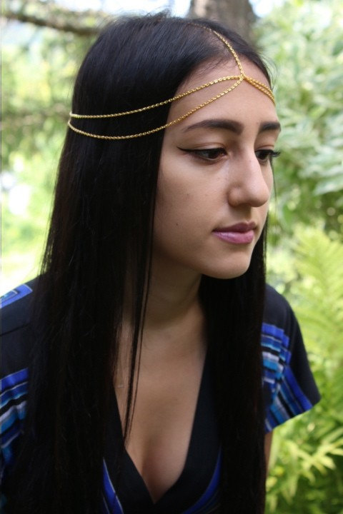 Free shipping strand golden tiara headband Headchain holiday ornaments program chain carnival accessories(China (Mainland))