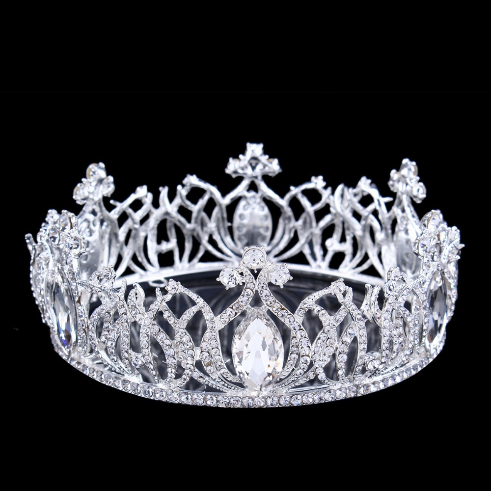"Fashion Elegant Austrian Crystal Crown Wedding Tiara 2.16"" High Bridal Crown Clear Rhinestone Pageant Party Headpieces HG069(China (Mainland))"