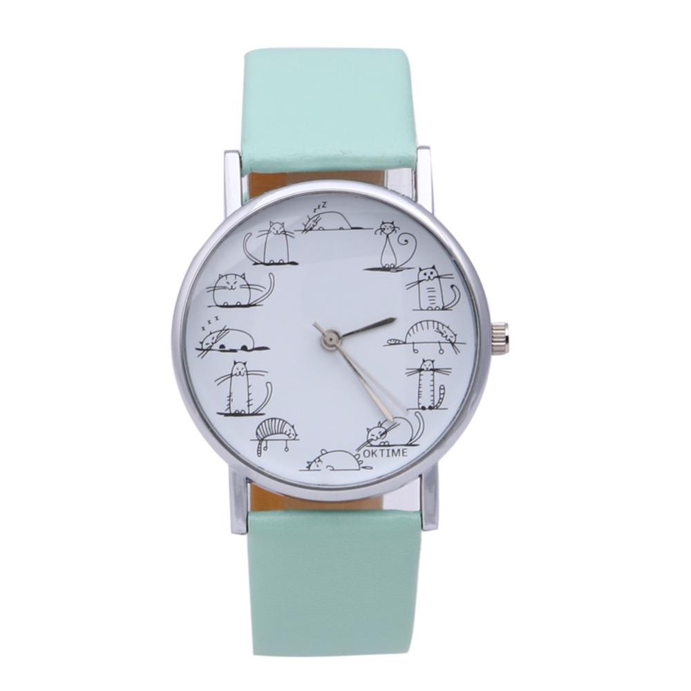 5 colors Printed Lazy Cat Watch Leather Band Quartz Wrist Watch Ladies Dress Watch reloj mujer relogio feminino montre femme(China (Mainland))