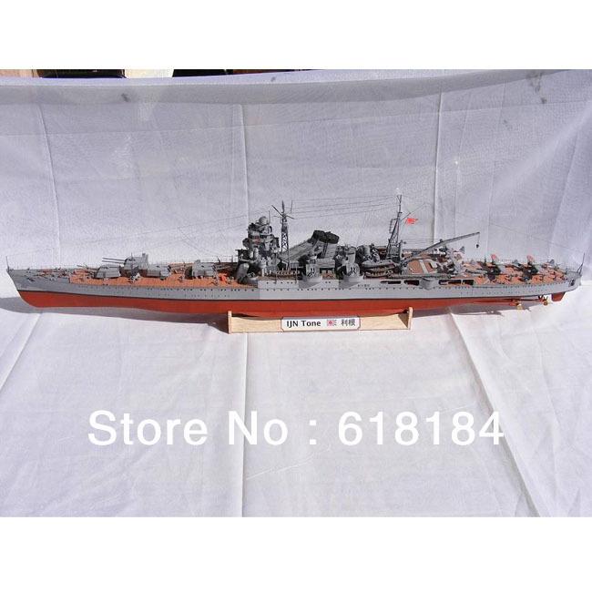 Free shipment diy paper model ship 108cm Long 1:200 World War II Japan Navy Tone Heavy Cruiser 3d puzzle Battleship Collection(China (Mainland))