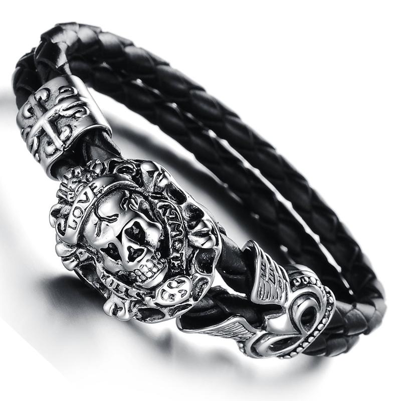 Wholesale New Fashion Vintage jewelry Skull Stainless Steel Bracelets Black Genuine Leather Rope Hand Chain Mens Bangles LPH845(China (Mainland))