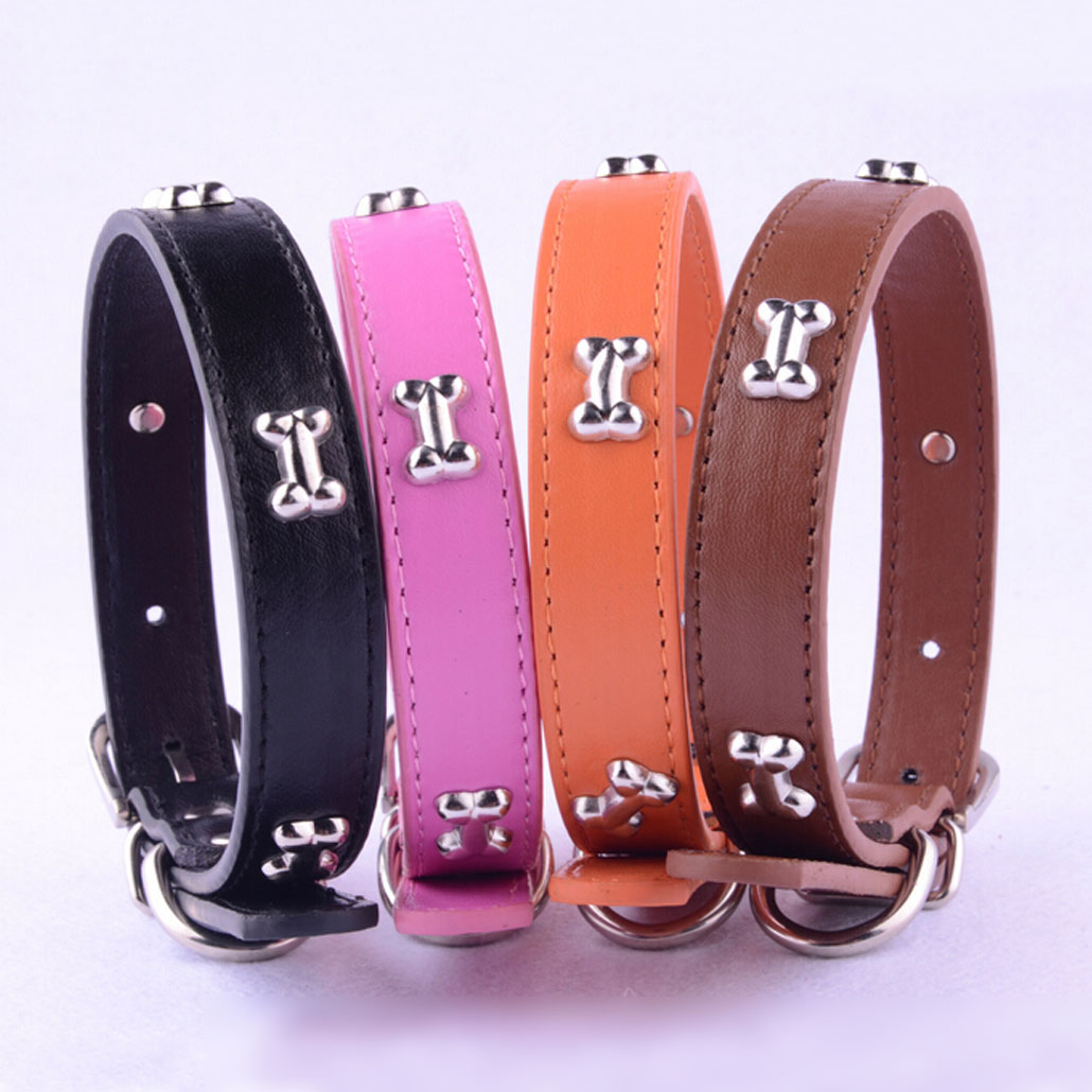 New Adjustable Pet Dog Bone Studded Leather Collars for small Cat Puppy Pet Products 14 styles & 3 sizes free Shipping Necklace(China (Mainland))