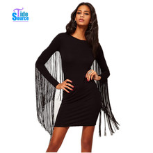 Plus Size Women Clothing Vestidos Novelty Winter Dress 2015 Long Sleeve Sleeve Tassel Casual Dress Black Mini Bandage Dresses(China (Mainland))