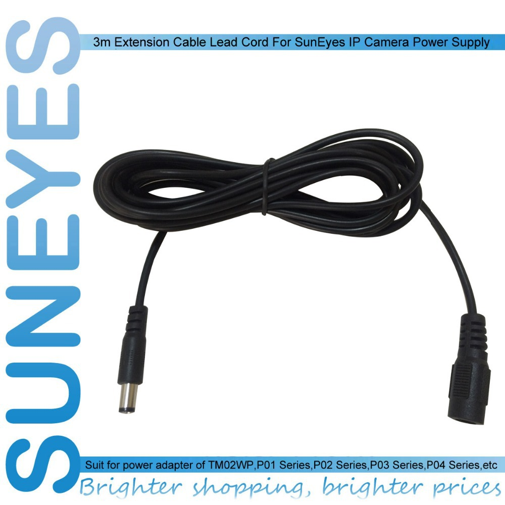 SunEyes 3m Extension Cable Lead Cord For IP Camera Power Supply AC/DC Adapter Extension Cable 12V Power Adapter 5.5mm/ 2.1mm(China (Mainland))