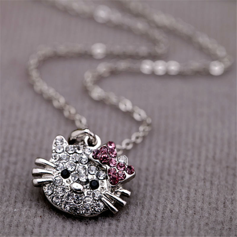 Wholesale Hello kitty High Quality Children Crystal Necklace Children's Favorite Jewelry Gifts Jewelry Accessories JP49(China (Mainland))