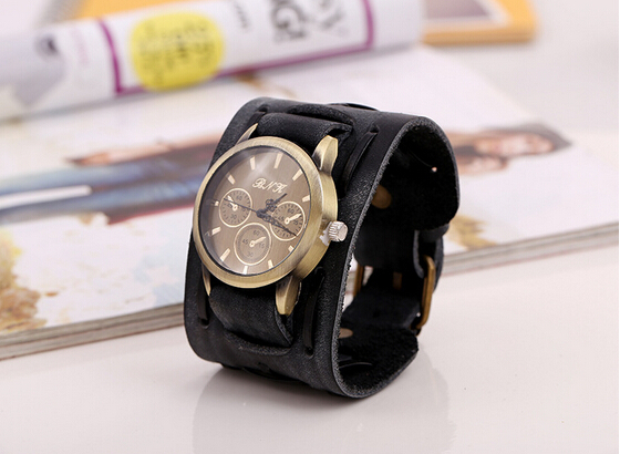 Punk Casual Wide Strap Genuine Leather Mechanical Dial Wristwatches Weave Vintage Bracelet Fashion Jewelry Watches Men