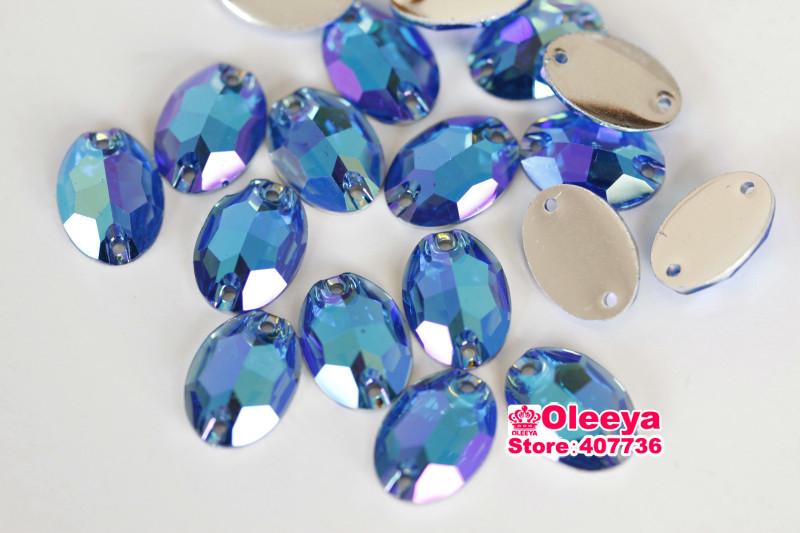 Resin oval lt sapphire AB flatback sew on rhinestones (1)