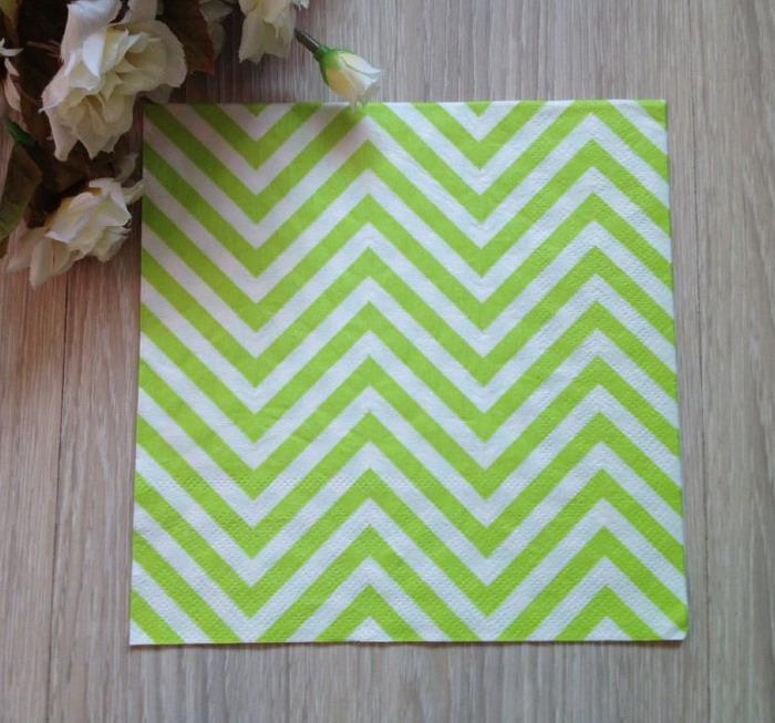 20pcs Green Chevron Striped Napkin Paper For Birthday Party Decoration(China (Mainland))