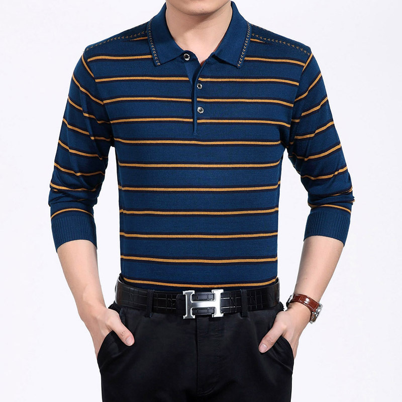 Mens long sleeved pinstriped polo shirts classic big size for Longer length mens polo shirts