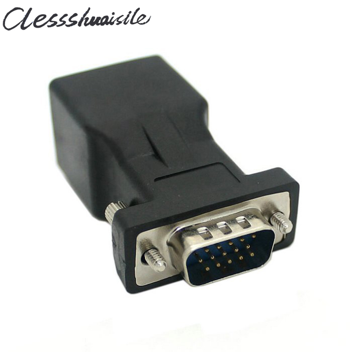 Extender VGA RGB HDB 15pin Male to LAN CAT5 CAT6 RJ45 Network Cable Female Adapter(China (Mainland))