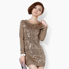 2016 Autumn Knitted Top Korea Paillette Long Slim Knitted Pullover Women Clothes Sequined Cashmere Sweaters Mujer JOY128(China (Mainland))