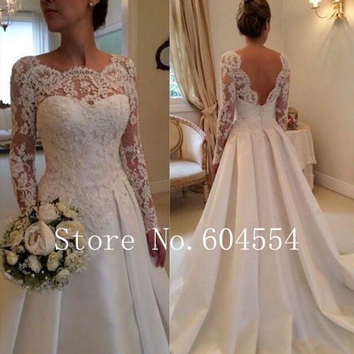 2016 Stock Vestido De Noiva US Size 4~22 White/Ivory Applique Long Sleeve A-Line Lace Wedding Dress Robe De Mariage(China (Mainland))