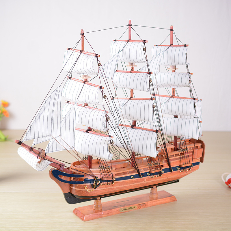 Hot Sale 60cm Wooden Vintage Sailing Ship Fashion Slap-up Business Gifts Dining Room Office Meeting Room Desk Ornaments(China (Mainland))