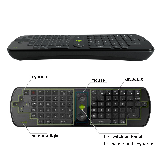 Freeshipping Dropshipping Fly Air Mouse RC11 2.4GHz wireless Keyboard for google android 4.0 Mini PC TV Palyer box(China (Mainland))