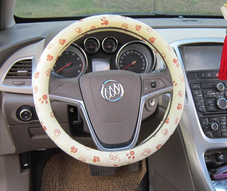 beige color soft cute footprint auto car interior accessories steering wheels cover anti slip. Black Bedroom Furniture Sets. Home Design Ideas