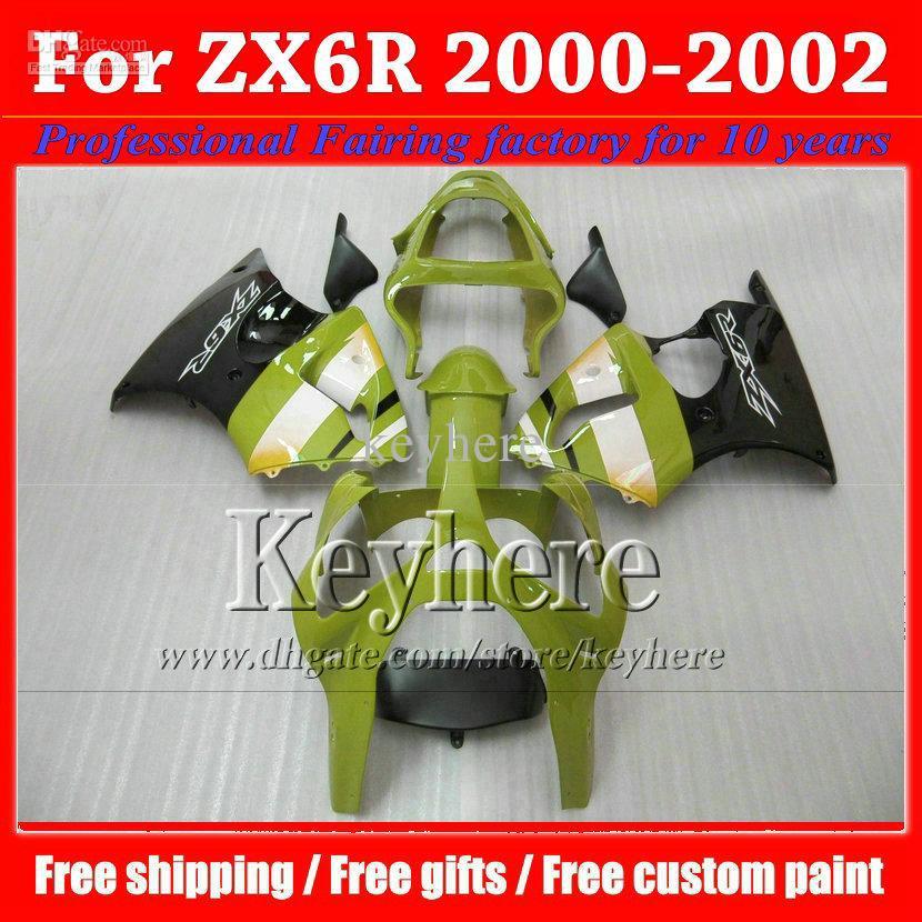 NEW HOT black green 2000 2001 2002 Kawasaki ZX6R fairing 00 01 02 high quality motorcycle fairings kits motor parts GS(China (Mainland))