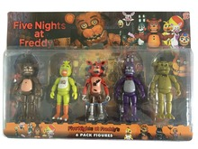 5 Pcs/ Pack 5.5 Inch Five Nights At Freddy's PVC Action Figure Toy Foxy Gold Freddy Chica Freddy Bears With 2 Color LED Lights(China (Mainland))